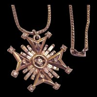 Trifari Rhinestone Maltese Cross Necklace