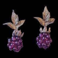 Victorian Revival  Garnet Glass Raspberry Cluster Earrings