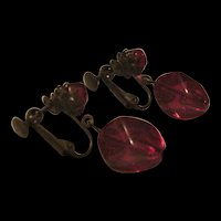 Miriam Haskell Cherry Red Glass Earrings