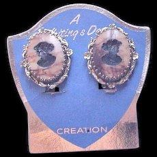 Whiting and Davis Cameo Earrings Original Display Card