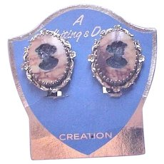 Whiting and Davis Cameo Earrings Original Display Card