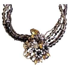 Intricate Haskell Like Topaz Rhinestone Necklace