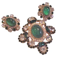 Flawed Emerald Rhinestone Pin / Necklace and Earrings