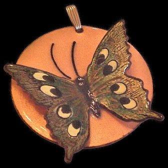 Enameled Butterfly Pendant