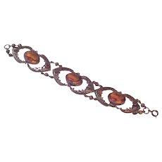 Citrine Rhinestone Filigree Bracelet