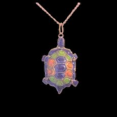 Vintage Chinese Enamel Turtle Necklace