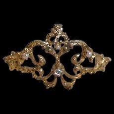 Vintage Doll's Rhinestone and Faux Pearl Crown or Tiara