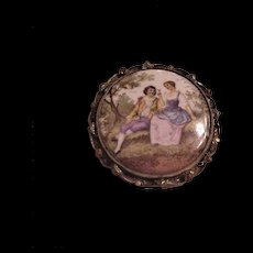 Vintage Painted Porcelain Couples Pin