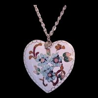 Large Enamel Heart Pendant Necklace
