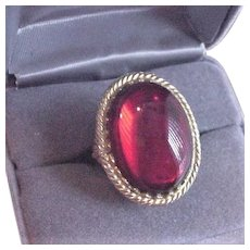 Vintage Red Rhinestone Poison Ring