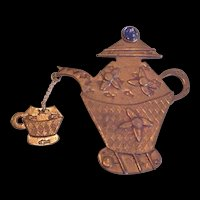 Tea Coffee Pot Chatelaine Pin