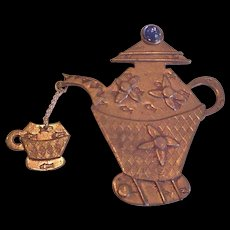 Tea Coffee Pot Chatelaine Pin
