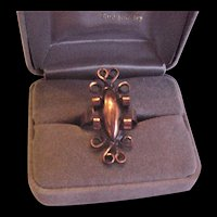 Mid Century Copper Scrolls Ring
