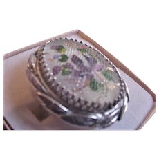 Whiting and Davis Textured Glass Floral Ring