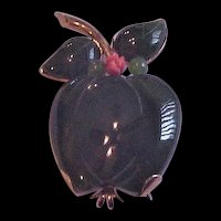 Sterling Silver Jade and Coral Apple Pin / Pendant