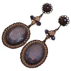 Early 20th Century Blue Glass Earrings