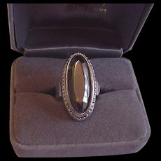 Whiting and Davis Glass Hematite Ring