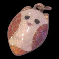 Silver and Polychrome Enamel Owl Charm