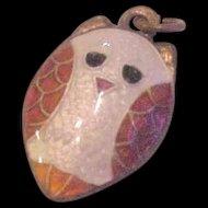 Silver and Polychrome Enamel Owl Charm