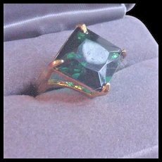 Emerald Green Glass Cocktail Ring