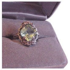 Filigree and Peridot Glass Ring
