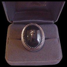 Big Whiting and Davis Hematite Glass Ring
