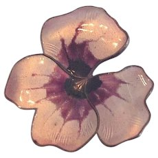 David Anderson Sterling Silver Enamel Pansy Pin