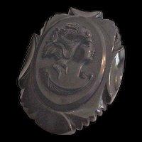 Carved Bakelite Cameo Pin