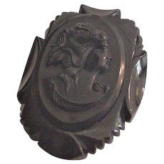 Carved Bakelite Cameo Pin