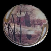 Painted Porcelain Salt Box Building Winter Scene  Golden Winter P Buckley