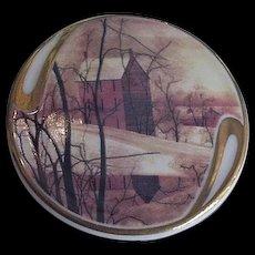 Painted Porcelain Salt Box Building Winter Scene  Golden Winter P Buckley