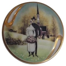 Painted Porcelain Pin Pendant P Buckley Country Wedding 1994