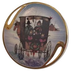 Painted Porcelain Pin Pendant P Buckley Christmas Carol 1996