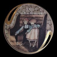 Painted Porcelain Pin P Buckley Friendship 1993