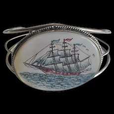 Scrimshaw on Mother of Pearl Tall Ship on the Sea Bracelet