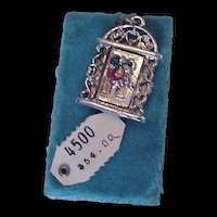 Sterling Silver Christmas Door Charm on Original Card