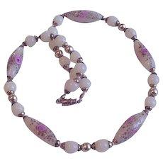 Vintage Venetian Custard Glass Beads Necklace