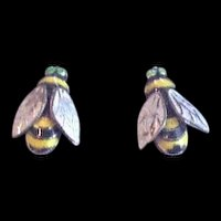 Vintage Polychrome Enamel Bumblebee Earrings