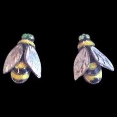 Vintage Polychrome Enamel Bumblebee Earrings
