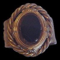 Huge Victorian Revival Black Glass Bracelet