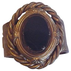 Huge Victorian Revival Black Glass Bracelet
