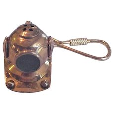 Vintage Brass Divers Helmet Mask Key Ring