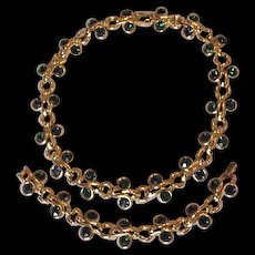 Green Rhinestone Necklace and Bracelet
