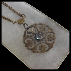 Brass and Sapphirette Glass Necklace