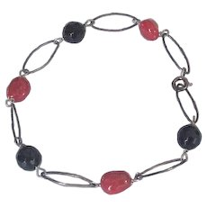 Sterling Silver Onyx and Coral Bracelet