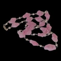 Pink Pate de Verre Poured Glass Beads Necklace