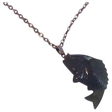 Carved Jade Koi Fish Pendant Necklace