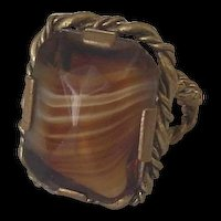 Rootbeer Carmel Color Givre Glass Ring