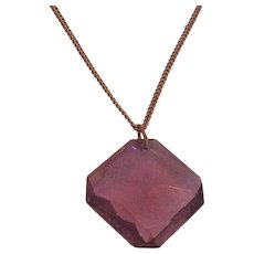 Amethyst Color Glass Pendant Necklace