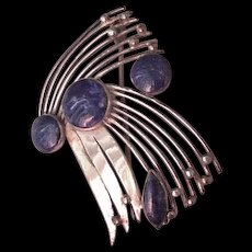 Sterling Silver Lapis Modernist Pin